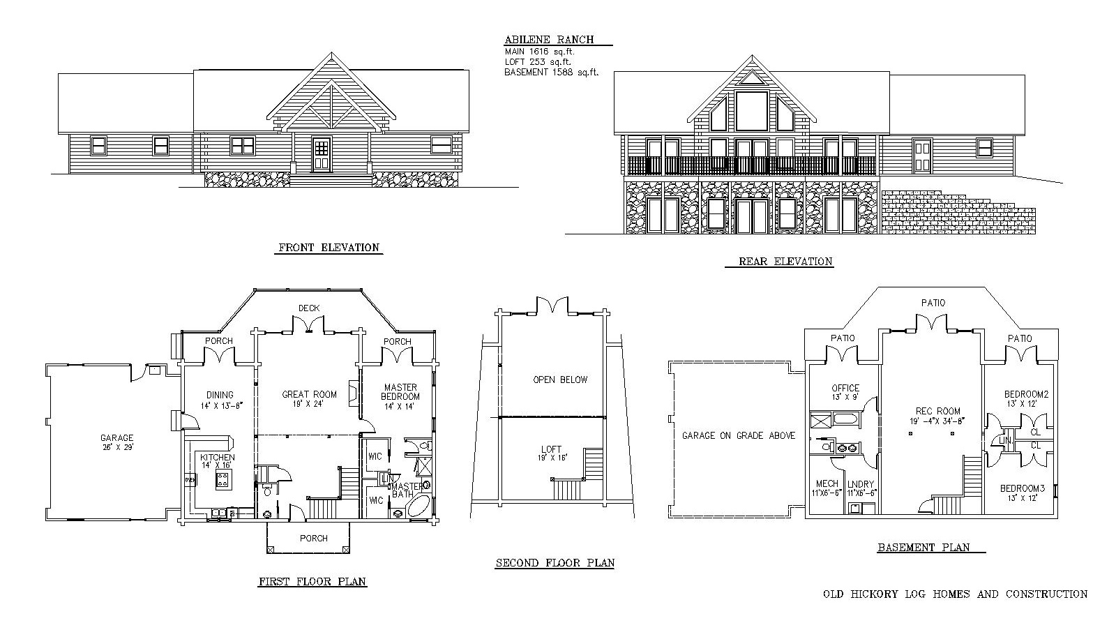 Abilene ranch for Ranch log home floor plans